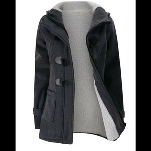 Plus Sherpa Lined Horn Buckle Hooded Coat